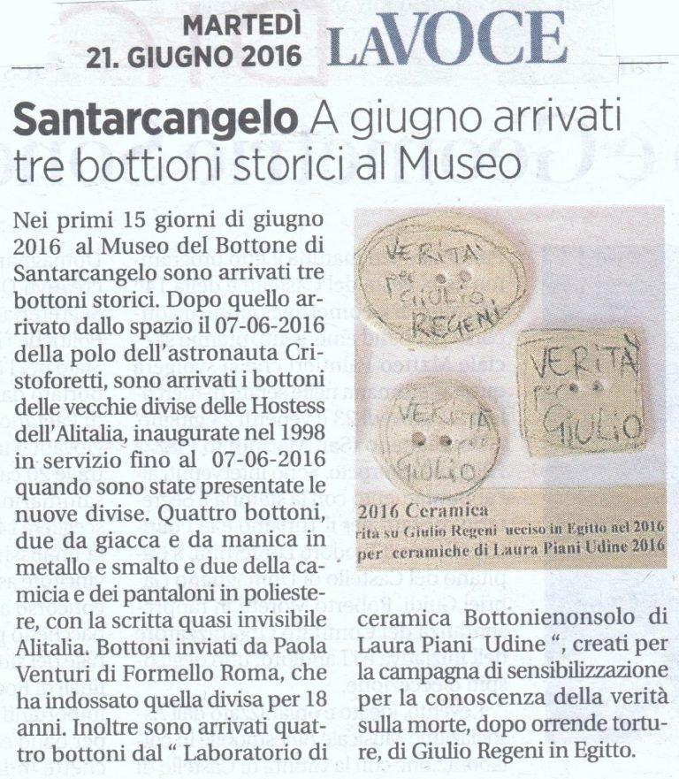 I bottoni per Giulio fanno parte della collezione del Museo del Bottone
